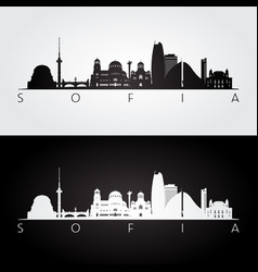 sofia skyline and landmarks silhouette black vector image vector image
