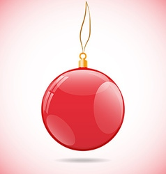 Square with red shiny christmas ball vector image vector image