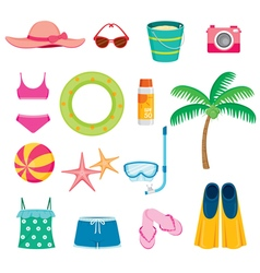 Summer Objects Icons Set vector image vector image