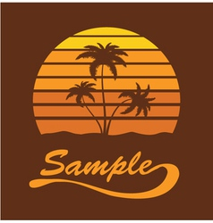 summer t-shirt design with palm trees vector image vector image