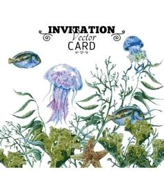 Summer vintage watercolor sea life greeting card vector