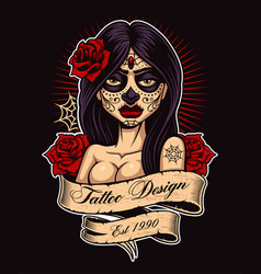 tattoo girl color version vector image