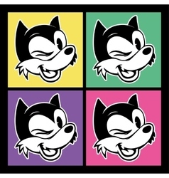 vintage toons four images of retro cartoon vector image