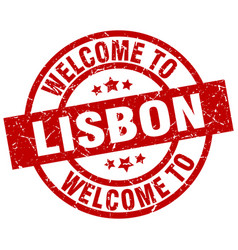 Welcome to lisbon red stamp vector