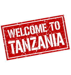 welcome to tanzania stamp vector image vector image