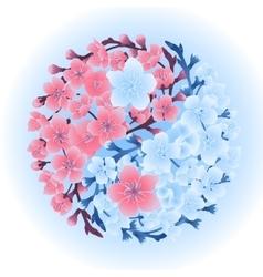 Yin Yang made of sakura vector image vector image