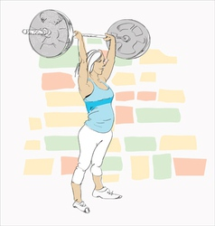 Young Woman in Gym vector image