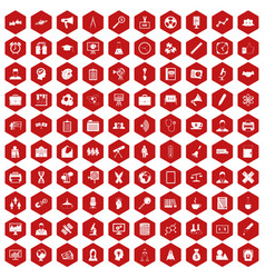 100 seminar icons hexagon red vector