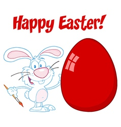 White happy easter bunny painting a red egg vector