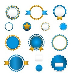 Set of sale badges labels and stickers in blue vector