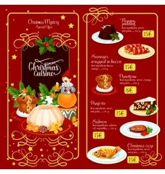 Christmas menu template for restaurant design vector image