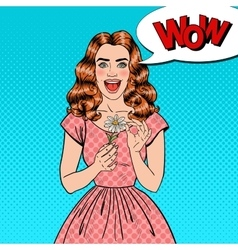 Pop art excited beautiful woman with daisy flower vector