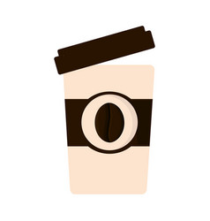 Paper cup coffee open cap vector