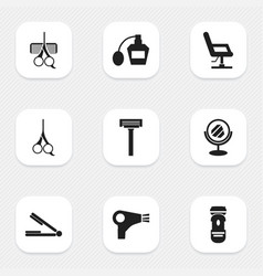 set of 9 editable coiffeur icons includes symbols vector image