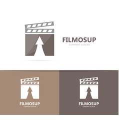 clapperboard and arrow up logo vector image