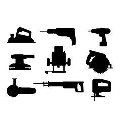 Electric tools black silhouettes vector