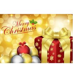 Merry christmas with decorative xmas bubbles balls vector
