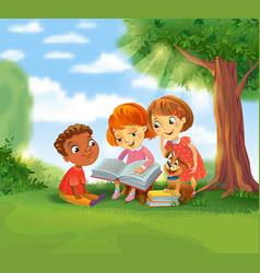 Cute children reading books vector
