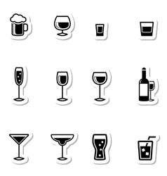 Drink icons as labels vector