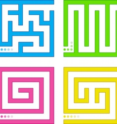 Set of small colored mazes vector