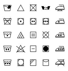 Fabric care sign and symbol icons on white vector