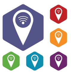 Wi-fi pointer rhombus icons vector