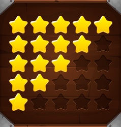 Set of golden rating stars vector