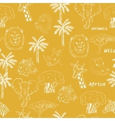 Seamless pattern with wild animals of africa in vector