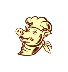 Pig chef cook head looking up woodcut vector