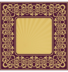 Rectangle gold frame with floral ornamental border vector