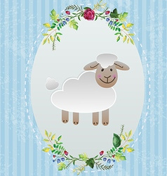 Sheep in decorative frame vector