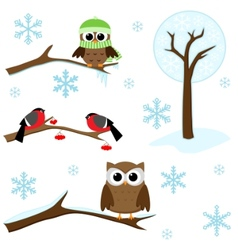 Set of winter elements vector