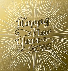 Happy new year 2016 gold greeting card firework vector