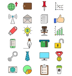 Set of color business icons vector