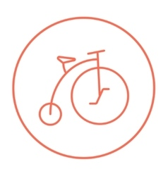 Old bicycle with big wheel line icon vector