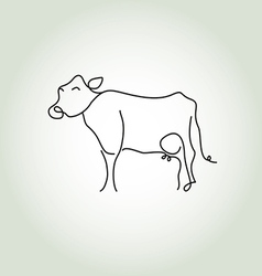 Cow simple icon in black lines vector