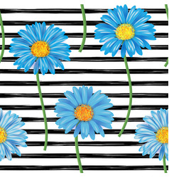 beautiful seamless pattern with blue gerbera vector image vector image