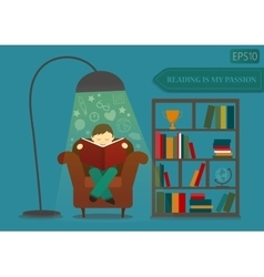 Boy reading book and imagine vector image