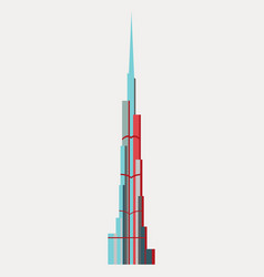 Burj khalifa tower icon uae dubai symbol gray vector