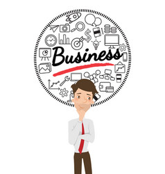 Businessman thinking about business with icon vector