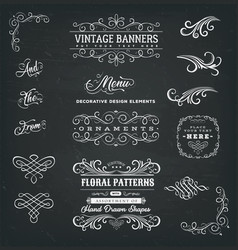 Calligraphic frames and banners on chalkboard vector