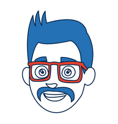 Cartoon man face smiling wearing glasses and blue vector
