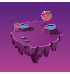 Cartoon stone isometric island with craters for vector