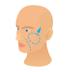 Cheek plastic correction icon cartoon style vector