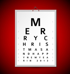 Christmas eye test chart as xmas card vector
