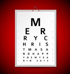 Christmas eye test chart as xmas card vector image