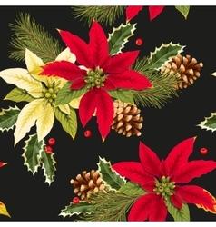 Christmas poincettia seamless vector image