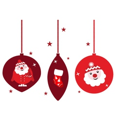 christmas retro decoration set vector image