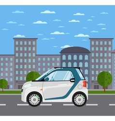 Compact white smart car on road in city vector
