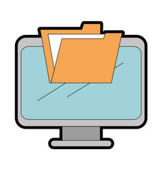 Computer display with folder vector